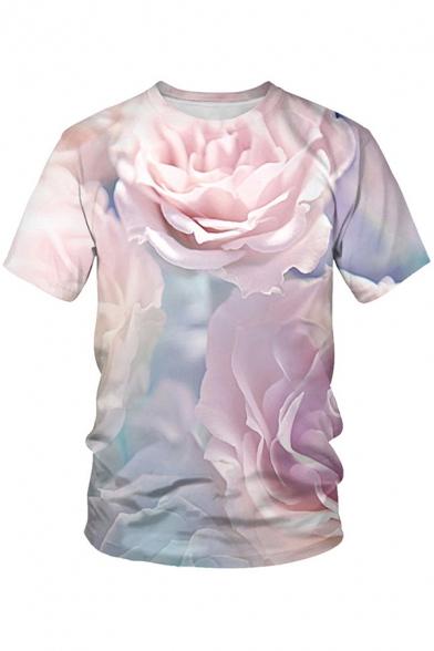 Fashion Mens T Shirt Flower Leaf Butterfly 3D Pattern Shrot Sleeve Crew Neck Regular Tee Top