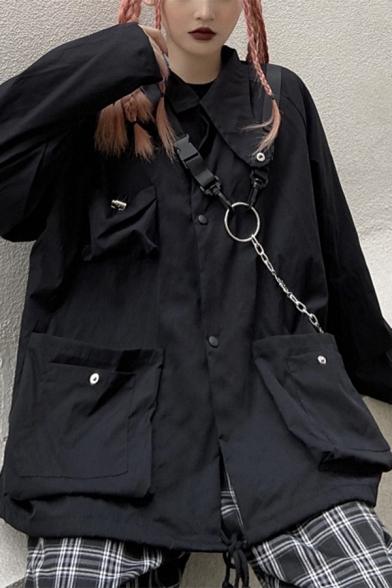 Korean Fashion Black Long Sleeve Push Buckle Embellished Pocket Zip Up Oversized Cargo Jacket Coat