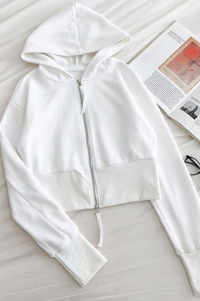 Trendy Women's Jacket Solid Color Contrast Ribbed Banded Trim Zip Placket Long Sleeves Regular Fitted Hooded Jacket