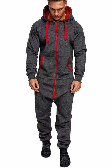 Fitness Style Men's Co-ords Camo Pattern Contrast Stitching Front Pocket Banded Cuffs Long-sleeved Regular Fitted Hoodie with Long Pants