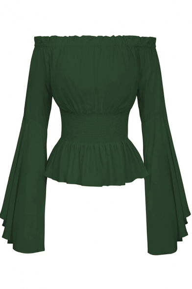 Medieval Womens Blouse Solid Color Bell Sleeve Off the Shoulder Ruffled Regular Fit Blouse Top