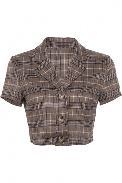 Novelty Womens Jacket Plaid Pattern Single Breasted Lapel Collar Slim Fit Cropped Short Sleeve Suit Jacket