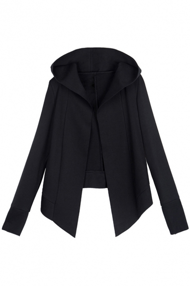 Cool Womens Coat Long Sleeve Hooded Open Front Irregular Hem Loose Fit Coat in Black
