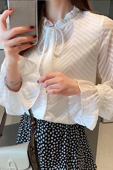Leisure Women's Shirt Blouse Zig Zag Jacquard Detail Ruffle Trim Drawstring Tie Front Long Flare Cuff Sleeves Regular Fitted Blouse