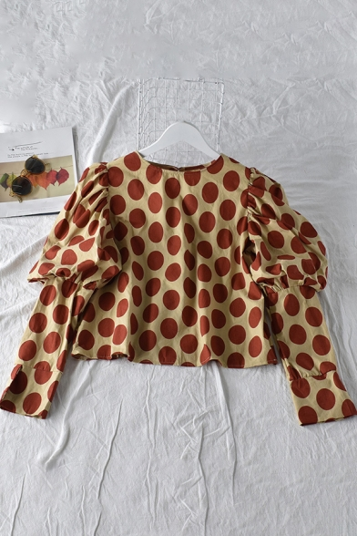 Popular Womens Blouse Polka Dot Print Puff Sleeve Crew Neck Relaxed Crop Blouse Top