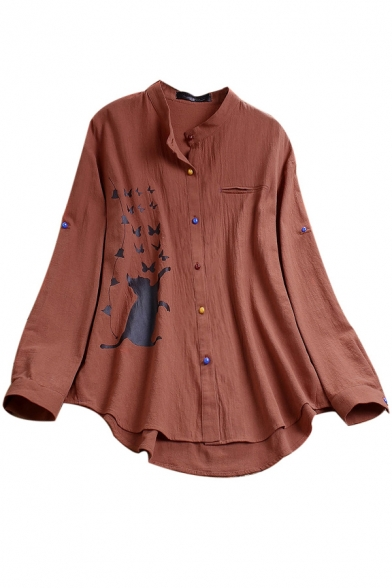 Unique Women's Blouse Cat Butterfly Printed Button Closure Long Sleeves Relaxed Fit Shirt Blouse