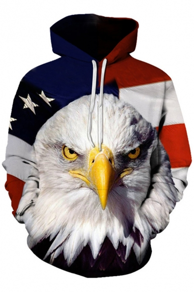 Boys Fashion Hoodie Eagle Flag 3D Print Long Sleeve Drawstring Relaxed Fit Hoodie with Pocket