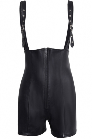 Cool Black Leather Zipper Front Skinny Suspender Shorts for Women