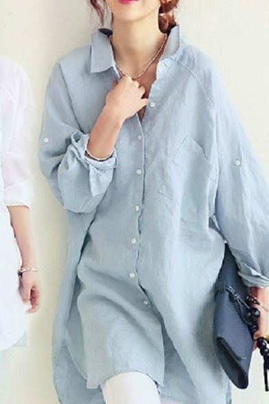Fancy Women's Shirt Blouse Solid Color Cotton and Linen Chest Pockets Button-down Notched Spread Collar Long Sleeves Side Split Loose Fitted Blouse