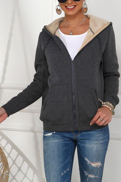 Leisure Hoodie Sherpa Liner Long Sleeve Hooded Zipper Front Relaxed Plain Hoodie for Women