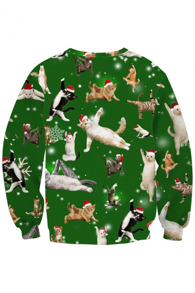 Mens Fashionable Pullover Sweatshirt Sloth Christmas Hat 3D Print Fitted Long Sleeve Crew Neck Pullover Sweatshirt in Green
