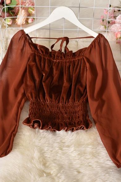 Pretty Blouse Solid Color Blouson Sleeve Off the Shoulder Velvet Regular Fit Crop Blouse Top for Women