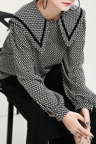 Stylish Women's Shirt Blouse Dizziness Graphic Pattern Contrast Trim Point Collar Long Bishop Sleeves Relaxed Fit Shirt