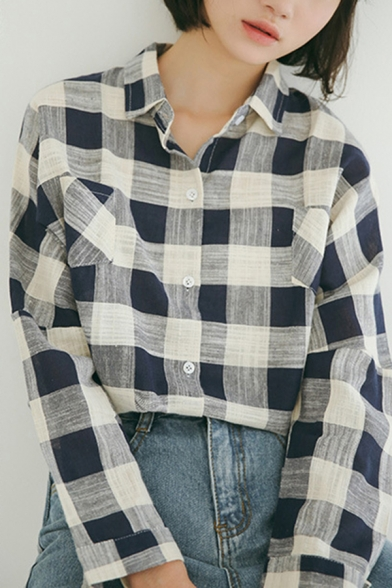 Trendy Women's Shirt Blouse Plaid Pattern Button Fly Turn-down Collar Long Sleeves Regular Fitted Shirt Blouse