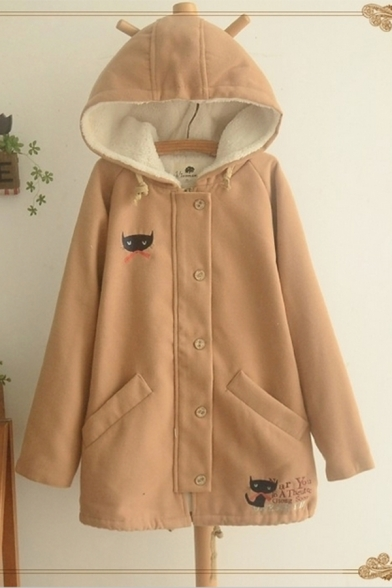 Cute Women's Coat Cat Cartoon Print Side Pocekt Button Zip Fly Plushed Long-sleeved Regular Fitted Hooded Coat