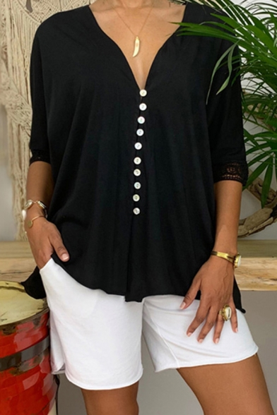 Leisure Shirt Lace Trim 3/4 Sleeve Deep V-neck Button Up Relaxed Solid Color Shirt Top for Women