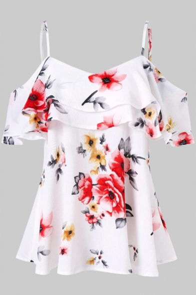 Popular Floral Print Ruffle Sleeve Zip Back Mini Summer A-line Dress