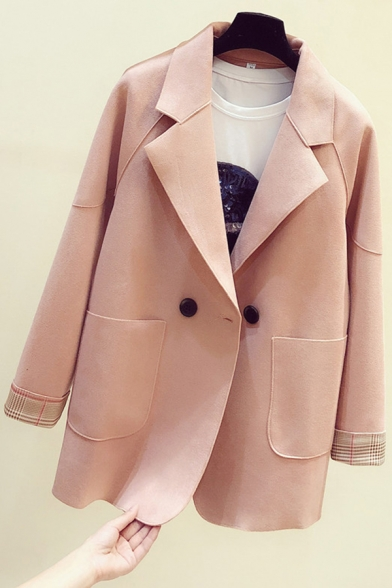 Trendy Women's Suit Jacket Front Pocket Button Closure Notched Lapel Collar Panel Long Sleeves Relaxed Fit Suit Jacket