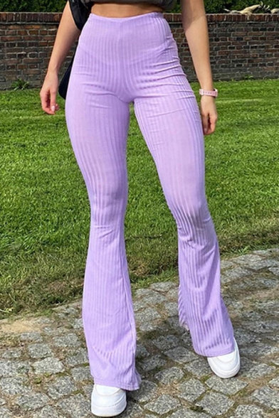 Unique Women's Pants Solid Color Ribbed Knit High Waist Long Flare Pants