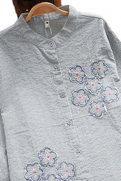 Classic Women's Shirt Stripe Pattern Flower Embroidered Button Fly Stand Collar Long Sleeves Relaxed Fit Shirt Blouse