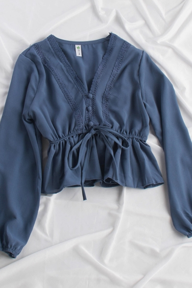 Pretty Womens Blouse Solid Color Lace Trim Button Up Long Sleeve V-neck Ruffled Regular Blouse Top