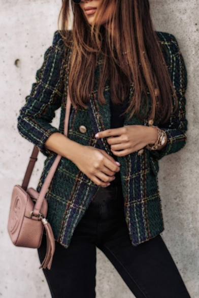 Elegant Ladies Plaid Printed Long Sleeve Lapel Neck Double Breasted Fitted Blazer
