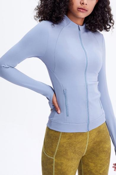 Ladies Running Glove Sleeves Stand Collar Zip Up Tight Plain Jacket