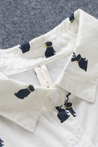 Leisure Women's Shirt All over Rabbit Print Button Fly Chest Pocket Point Collar Split Hem Long Sleeves Side Split Regular Fitted Shirt