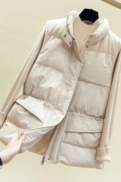 Trendy Women's Down Vest Quilted Zip Fly Sleeveless Stand Collar Flap Pocket Waist Banded Regular Fitted Down Vest