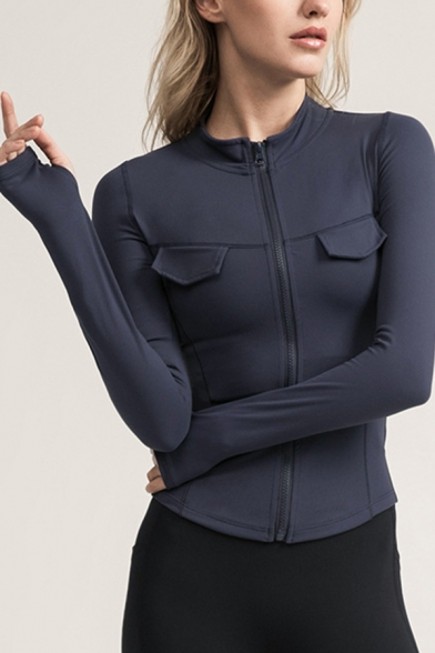 Trendy Women's Training Jacket Solid Color Flap Pocket Zip Placket Long Sleeves Stand Collar Fitted Workout Jacket