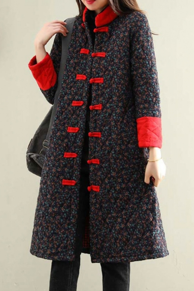 Vintage Womens Jacket Contrast Positioning Pattern Diamond-Quilted Frog Button Long Sleeve Mock Neck Knee-Length Loose Fit Padded Jacket