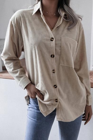 Basic Shirt Corduroy Long Sleeve Spread Collar Button Up Chest Pocket Plain Loose Shirt for Women