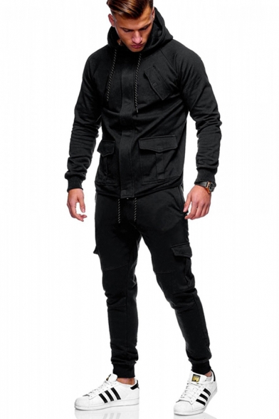 Fancy Men's Active Co-ords Heathered Solid Color Flap Pockets Banded Cuffs Long Sleeves Zip Closure Slim Fitted Drawstring Hoodie with Long Pants Co-ords