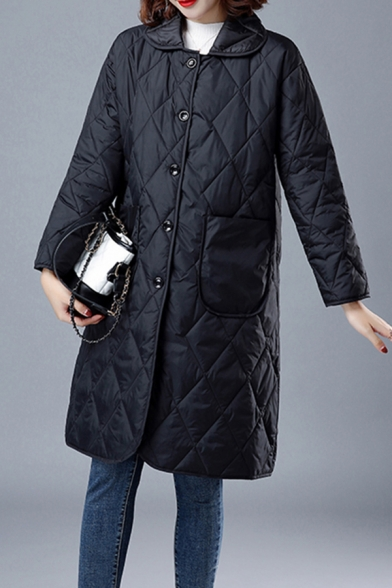 Fancy Women's Coat Quilted Solid Color Button-down Front Pocket Peter Pan Collar Long Sleeves Regular Fitted Midi Coat