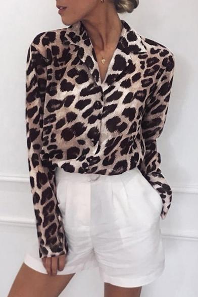 Formal Womens Shirt Leopard Pattern Long Sleeve Lapel Neck Button-up Relaxed Shirt Top
