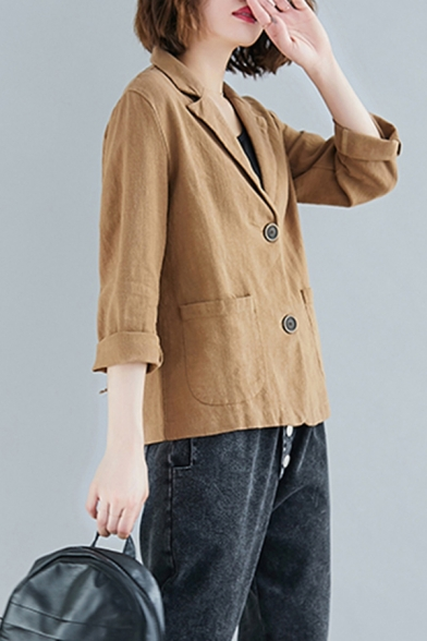 Basic Women's Suit Jacket Plain Front Pockets Cotton and Linen Button Fly Notched Lapel Collar Long Sleeves Regular Fitted Suit Jacket