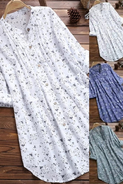 Fancy Women's Blouse Ditsy Floral Print Button Closure Stand Collar Long Sleeves Pleated Detail Plus Size Tunic Shirt Blouse