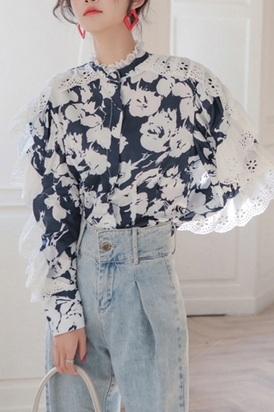 Leisure Women's Blouse Patchwork Floral Pattern Button Fly Broderie Lace Trim Long Sleeves Regular Fitted Shirt Blouse