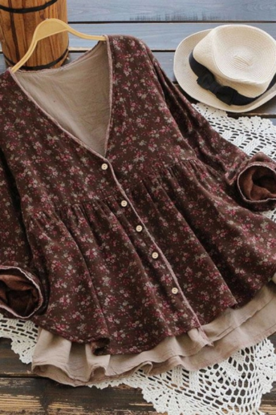 Trendy Women's Blouse Ditsy Floral Print Button Fly Pleated Patchwork Contrast Trim Faux Twinset Long Sleeves Relaxed Fit Blouse