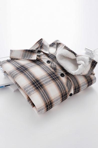 Womens Popular Shirt Sherpa Lined Long Sleeve Turn Down Collar Button Up Loose Shirt Top