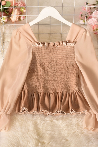 Fancy Ladies Blouse Solid Color Long Sleeve Square Neck Ruffled Pintuck Fit Crop Blouse Top
