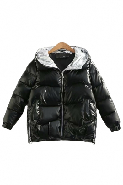 Fancy Women's Down Coat Quilted Contrast Panel Side Pockets Zip Split Long Sleeves Relaxed Fit Down Coat