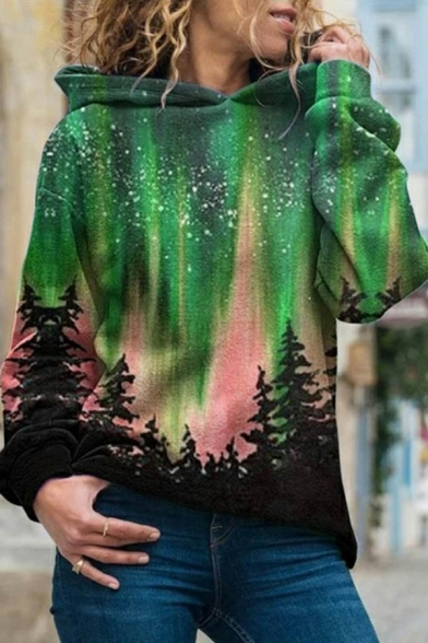 Fancy Women's Hoodie Landscape Northern Lights Forests Sky Pattern Banded Cuffs Long Sleeves Loose Fitted Hooded Sweatshirt