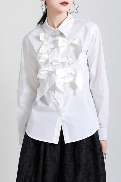 Fancy Women's Shirt Blouse Bow Tie Detail Point Collar Long Sleeves Button Fly Regular Fitted Shirt Blouse
