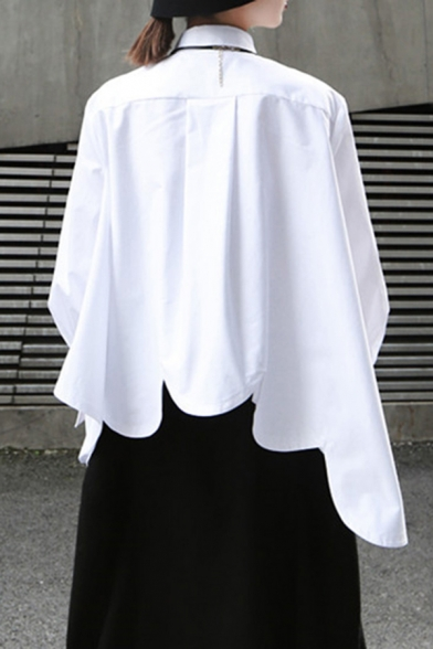 Fancy Women's Shirt Plain Button Fly Point Collar Scalloped Hem Long Puff Sleeves Relaxed Fit Shirt