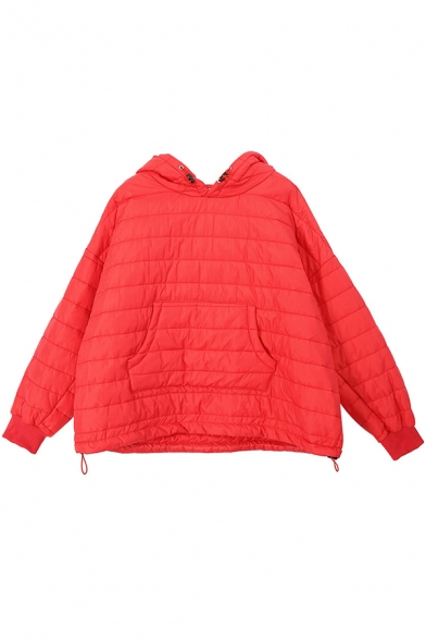 Fashion Womens Coat Quilted Long Sleeve Hooded Pouch Pocket Drawstring Plain Relaxed Coat
