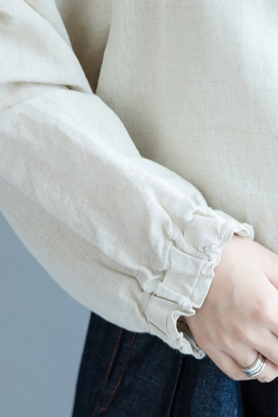 Leisure Women's Blouse Ruffles Trim Solid Color Button-up Backside Long Sleeves Mock Neck Relaxed Fit Blouse
