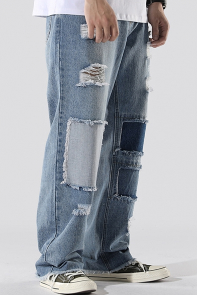 Streetwear Jeans Light Blue Patchwork Ripped Mid Waist Long Length Baggy Jeans for Men