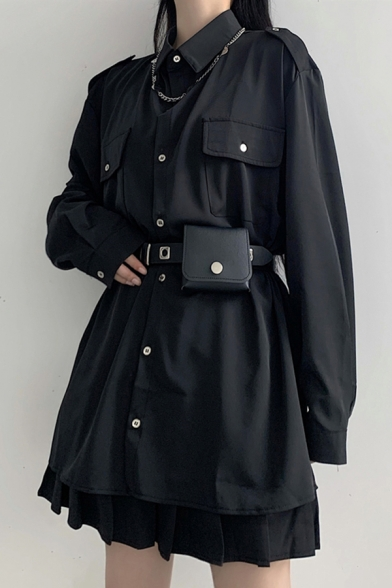 Cool Women's Shirt Solid Color Flap Chest Pocket Button Fly Point Collar Long Sleeves Regular Fitted Shirt