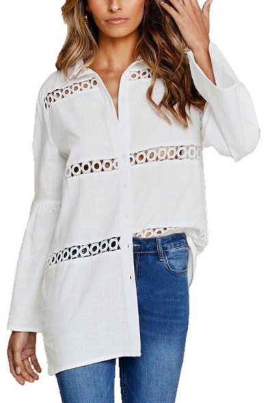Ladies Chic White Shirt Hollow Out Long Sleeve Spread Collar Button Up Loose Fit Shirt Top
